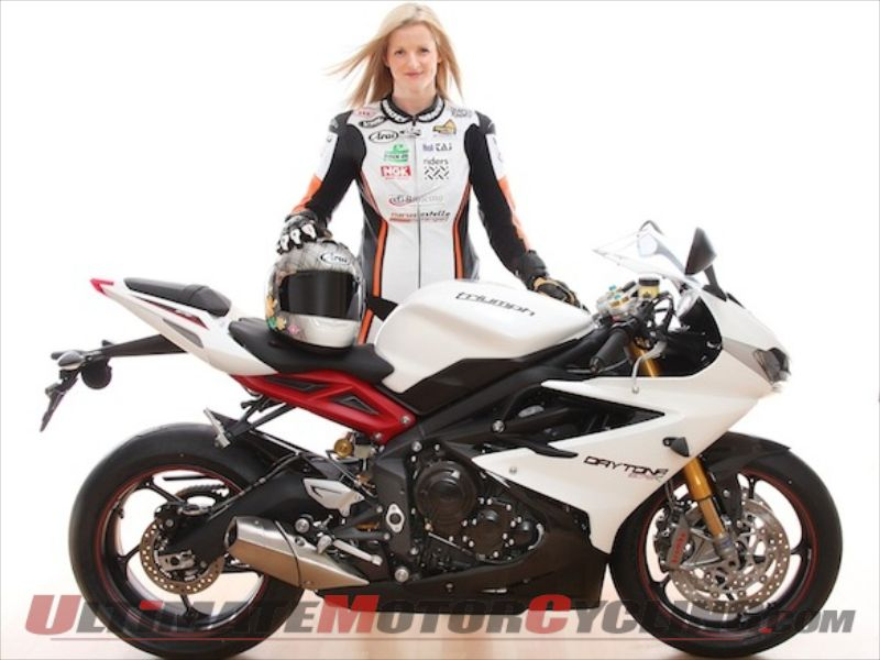 Isle of Man TT competitor Maria Costello and her Triumph 675R