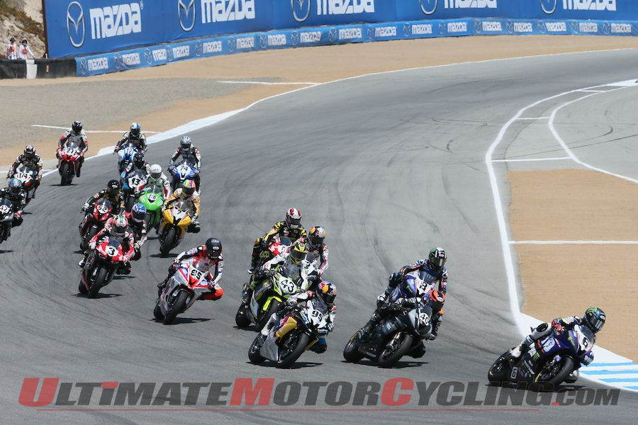 Cameron Beaubier leads the SportBike field at Laguna Seca