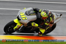 Valentino Rossi aboard the Yamaha Factory Racing YZR-M1 at Valencia.