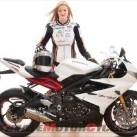 Maria Costello to Pilot Triumph 675R at 2013 Isle of Man TT