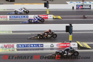 Harley's Ed Krawiec pilots V-Rod to Charlotte NHRA Four-Wide win