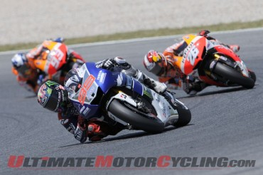 Yamaha's Jorge Lorenzo leads Repsol Honda's Dani Pedrosa and Marc Marquez at Catalunya