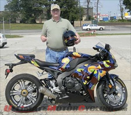 John Bretz, winner of the Ride for Kids/Cycle World Honda CBR1000RR