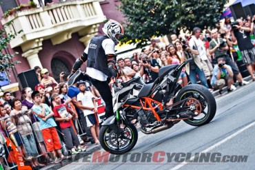 Rok Bargoros stunting his KTM 690 Duke in Slovenia