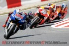 Yamaha Factory Racing's Jorge Lorenzo leads the Repsol Honda duo of Dani Pedrosa and Marc Marquez