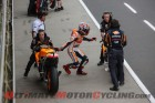 Repsol Honda's Marc Marquez during the bike change on, unfortunately , lap 11 instead of 10.