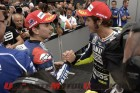 Yamaha Factory Racing duo of Jorge Lorenzo and Valentino Rossi on the podium