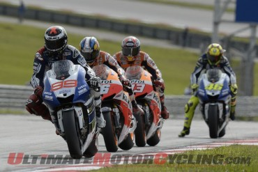 Yamaha Factory Racing's Jorge Lorenzo leads The Respol Honda Duo of Dani Pedrosa and Marc Marquez