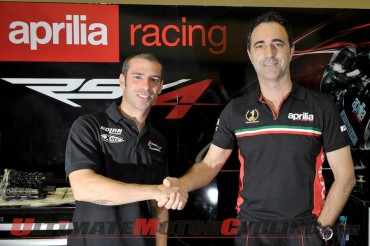 Marco Melandri and Aprilia Racing Boss Romano Albesiano