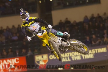 Yoshimura Suzuki's James Stewart at Anaheim II Supercross