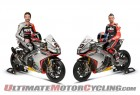 Sylvain Guintoli and Marco Melandri aboard their Aprilia RSV4 superbikes