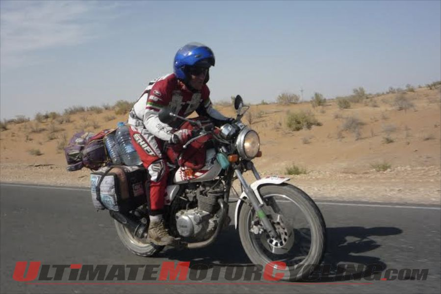 Ricardu Fite aboard his Yamaha SR 250 during the Mongolia Rally