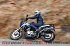 Left side view of 2015 BMW F800R in action