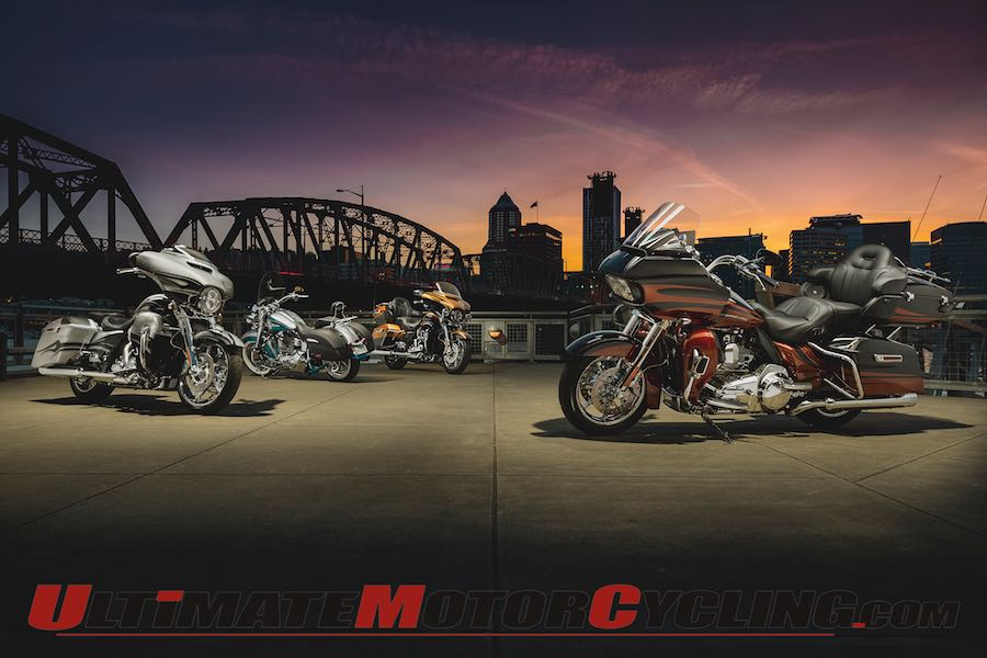 2015 Harley-Davidson CVO lineup at night