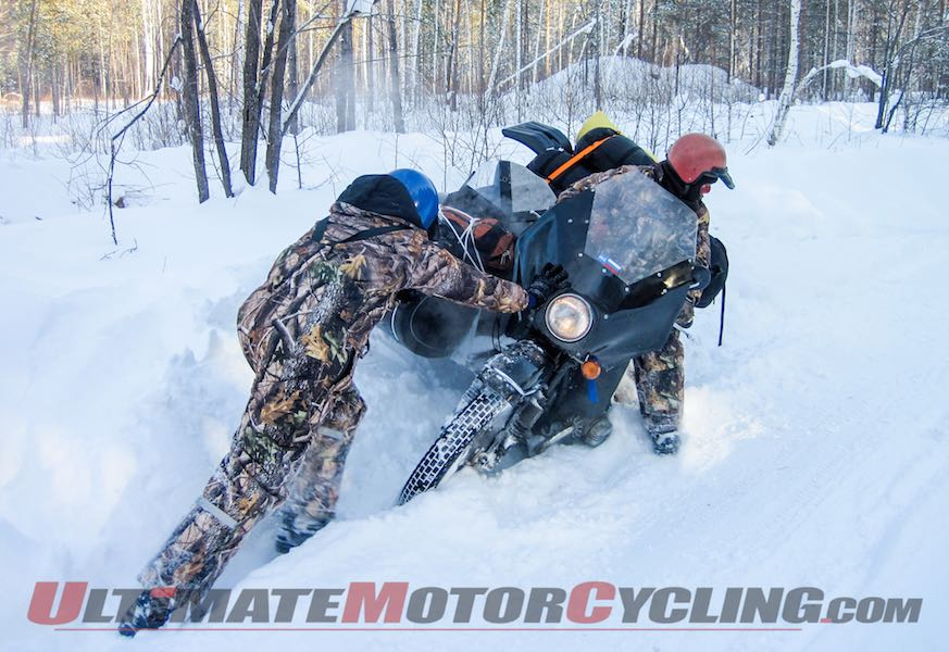 Ural Motorcycles Ice Run 2015 Underway at Lake Baikal stuck