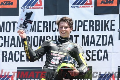 Yamaha's Joe Roberts - 1st-Ever MotoAmerica Champion podium
