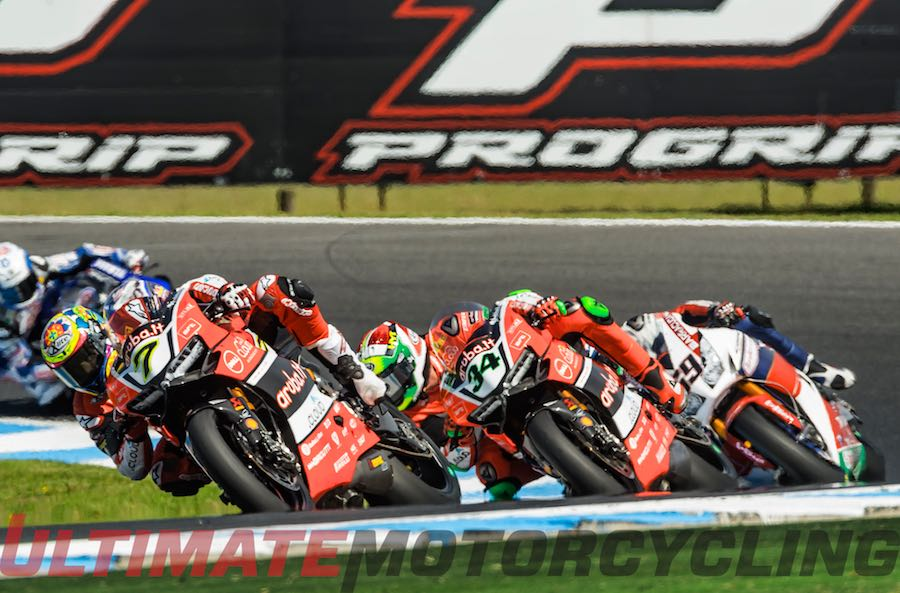 Ducati's Chaz Davies and Davide Giugliano at World SBK race 2 Phillip Island