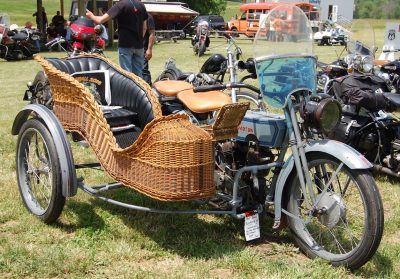 Harley with Wicker Sidecar