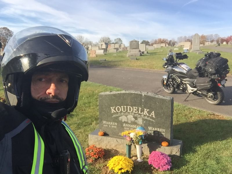 Visiting grave via Motorcycle