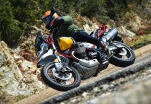 2020 Moto Guzzi V85 TT Adventure Review - lean action