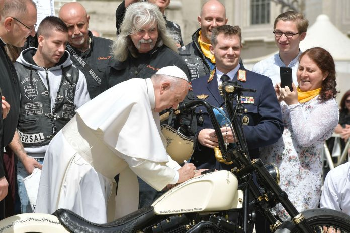 Pope Francis Signs the White Unique custom Harley