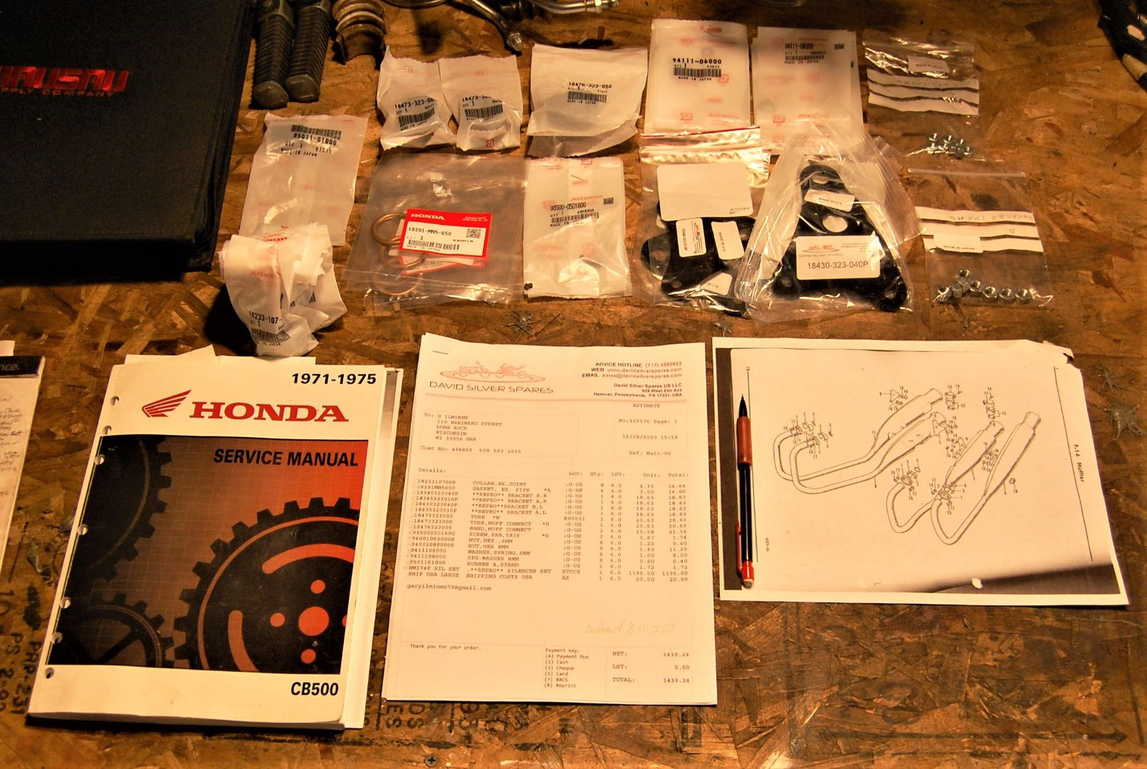 1973 Honda CB500K2 pre-assembly: Step one is to make sure all the parts are there, if you need to order all the mounting hardware. The parts list and diagram help visualize how it all fits together.