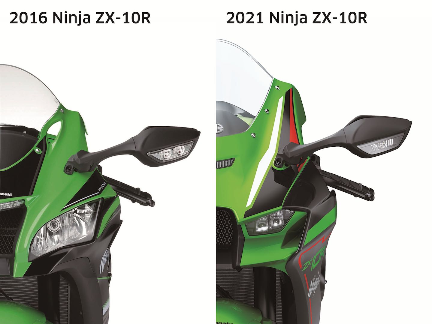 2021 ZX-10R compared to 2016