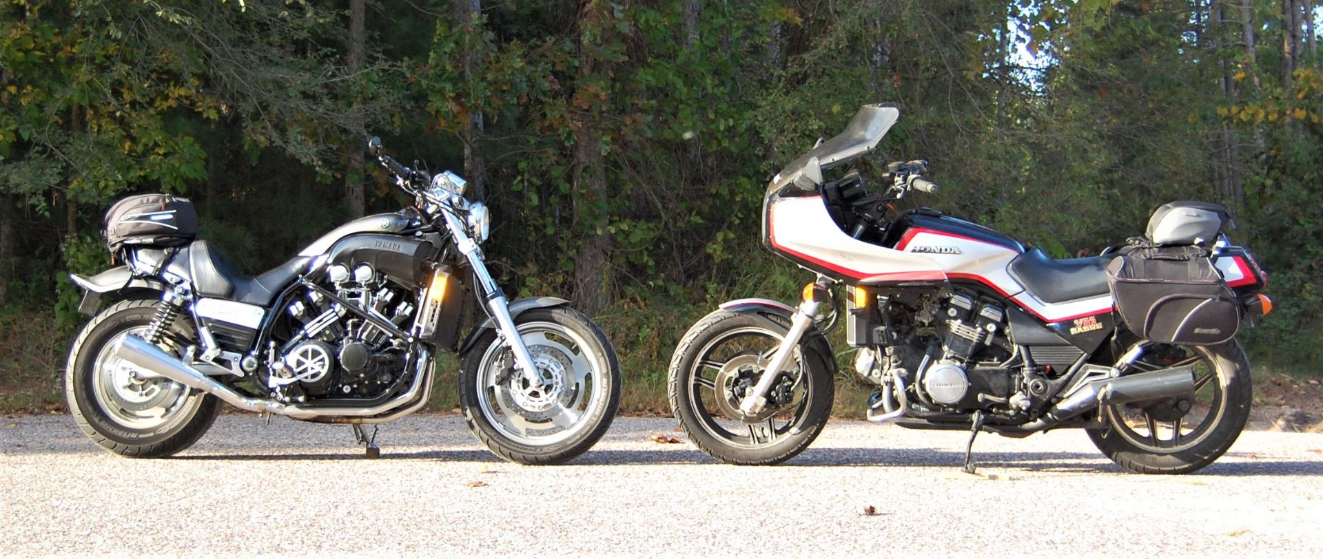 Head-to-head V4s—a 2002 Yamaha Carbon Fiber Vmax or VMX 1200 (L) and 1984 Honda V65 Sabre or VF1100S. About the only real similarity is plenty of V4 power.