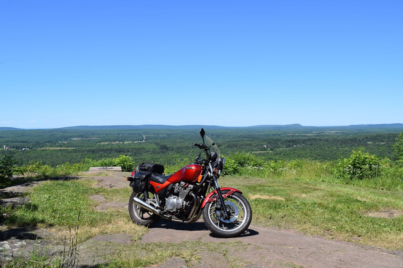 Touring Michigan's Upper Peninsula to the top of Mount Zion in Ironwood, MI, puts the Seca's smooth power and easy ride to great use.